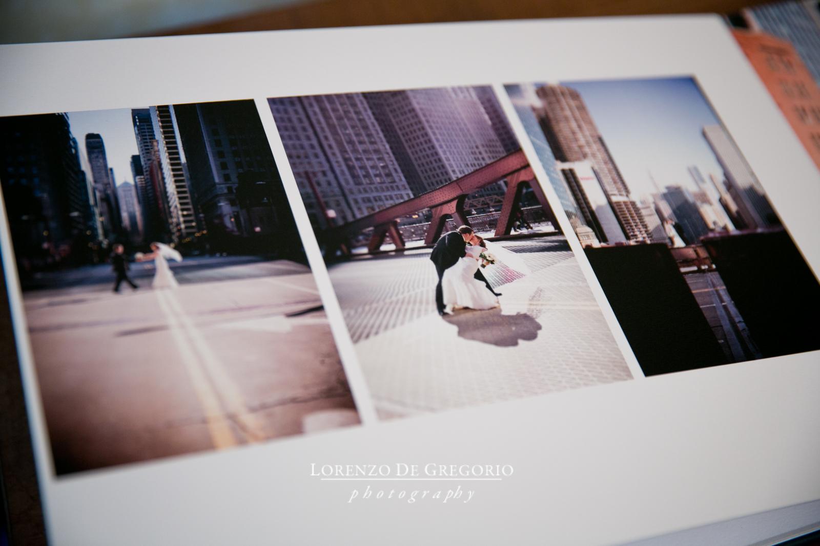 Queensberry wedding album Chicago Lasalle bridge