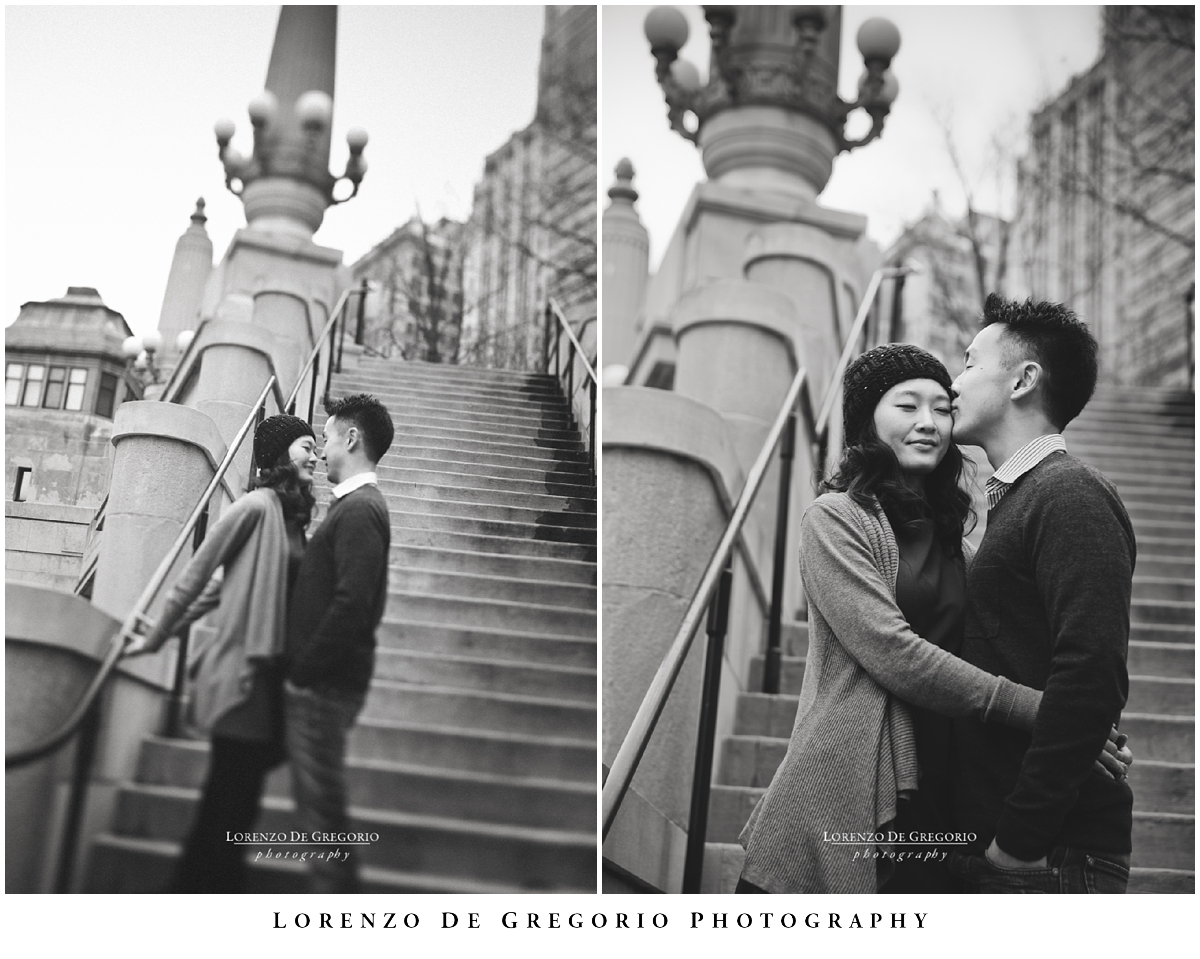 Downtown winter Chicago engagement pictures | Chicago engagement BW pictures