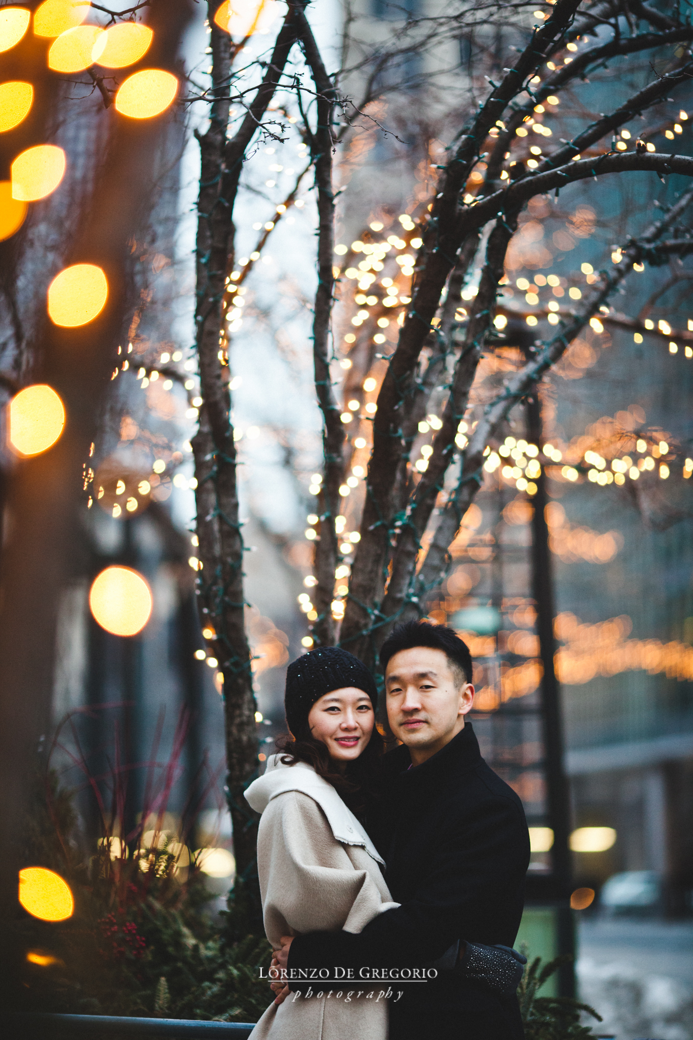 Downtown winter Chicago engagement pictures